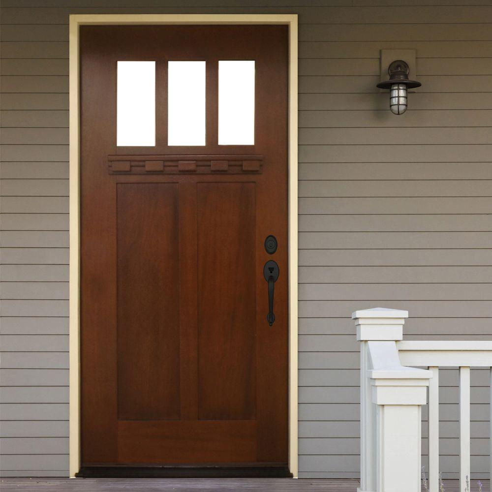 Steves Sons 36 In X 80 Shaker 3 Lite Stained Mahogany Wood Prehung Front Door