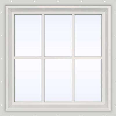 35.5 in. x 23.5 in. V-2500 Series Fixed Picture Vinyl Window with Grids - White