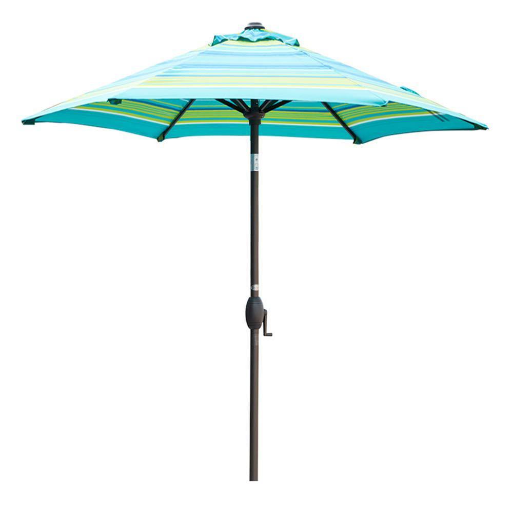 7-1/2 ft. Aluminum Market Push Button Tilt and Crank Patio Umbrella in Turquoise Stripe