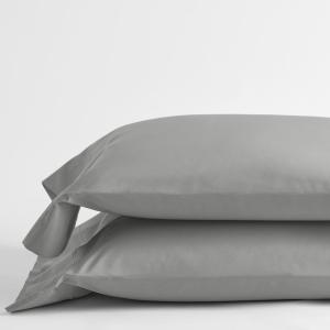 Company Cotton Ash Gray Solid 300-Thread Count Percale Standard Pillowcase (Set of 2)