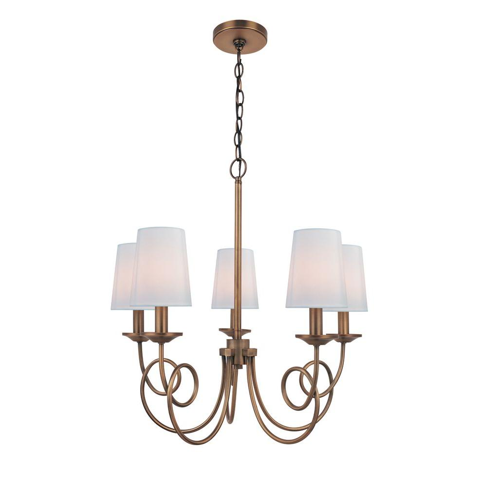 Illumine 5-Light Copper Chandelier with White Fabric Shade