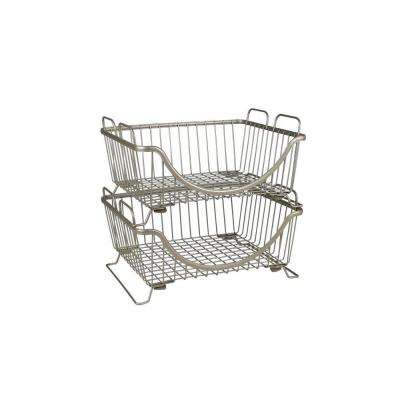 Ashley 12.875 in. W x 10.875 in. D x 6.625 in. H Stacking Basket Tray in Satin Nickel Powder Coat