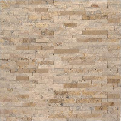 Roman Beige Mini Ledger Panel 4.5 in. x 16 in. Natural Travertine Wall Tile (5 sq. ft./case)