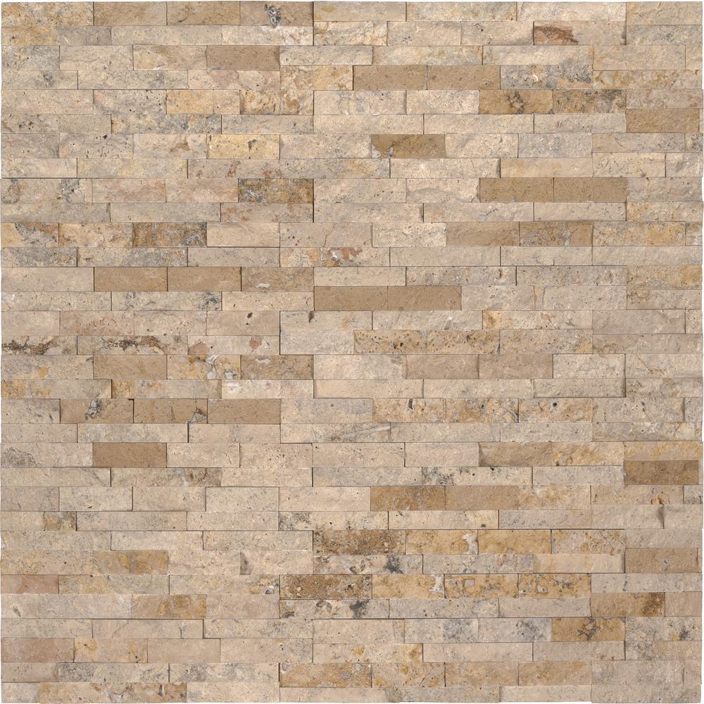 Roman Beige Mini Ledger Panel 4.5 in. x 16 in. Natural Travertine Wall Tile (5 sq. ft./case)