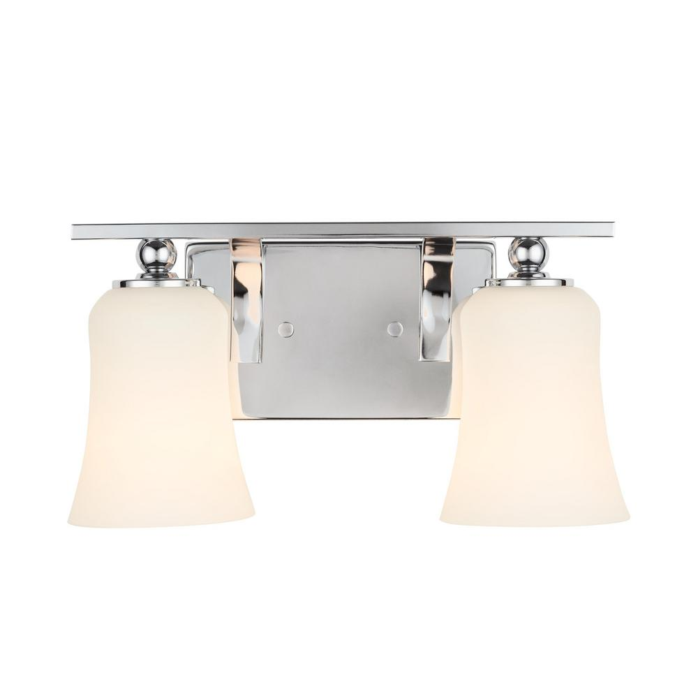 Home Decorators Collection 2-Light Chrome Square Bath Vanity Light with Etched White Glass