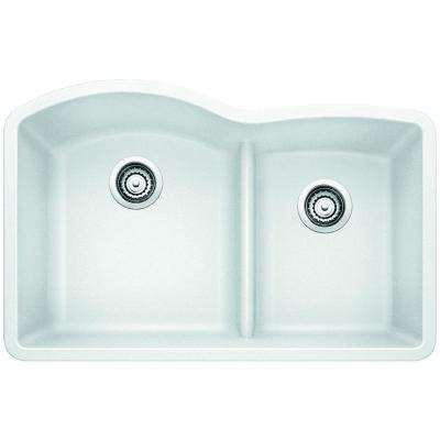 Diamond Undermount Granite Composite 32 in. 0-Hole with Low-Divide Double Bowl Kitchen Sink in White