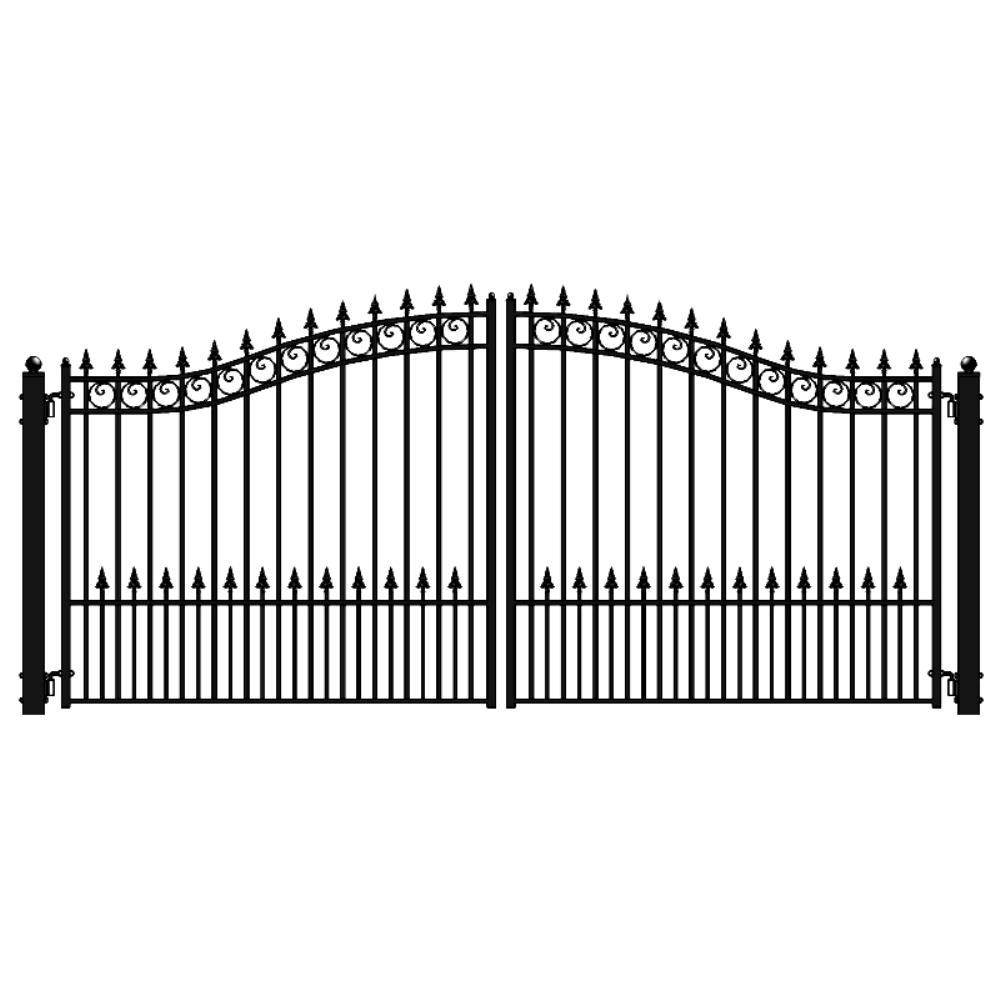 ALEKO Prague Style 16 ft. x 6 ft. Black Steel Dual Driveway Fence Gate