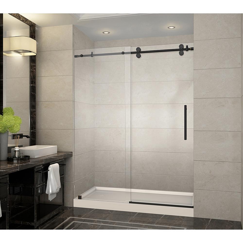 Langham 60 in. x 32 in. x 77.5 in. Frameless Sliding Shower Door in Oil Rubbed Bronze with Left Drain, Shower Base