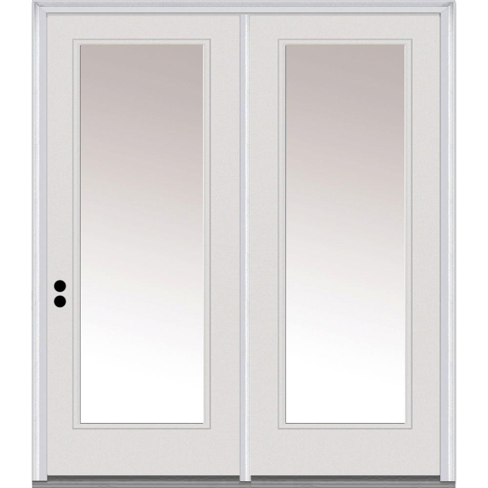 mmi door 60 in x 80 in classic clear low e glass fiberglass smooth right hand inswing full lite exterior patio door z001588r the home depot - 60 Patio Door