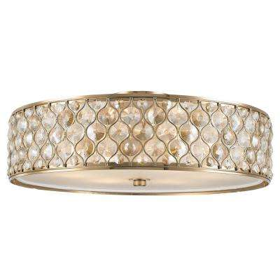 Paris 6-Light Champagne with Clear and Golden Teak Crystal Flushmount