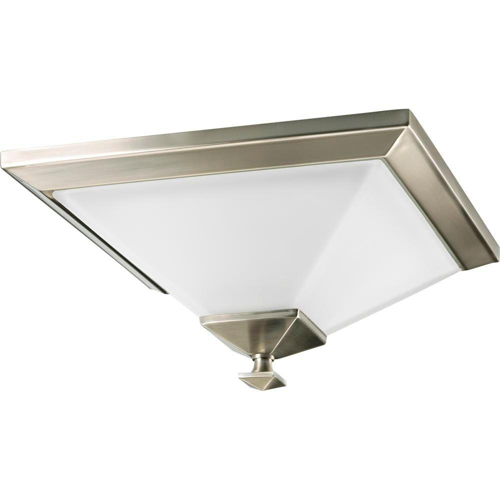 Progress Lighting North Park Collection 1-Light Brushed Nickel Flushmount with Etched Glass