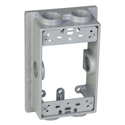 1-Gang Gray Weatherproof Extension Adapter with Six ½ in. Threaded Outlets