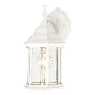 1-Light Textured White on Cast Aluminum Exterior Wall Lantern with Clear Beveled Glass Panels