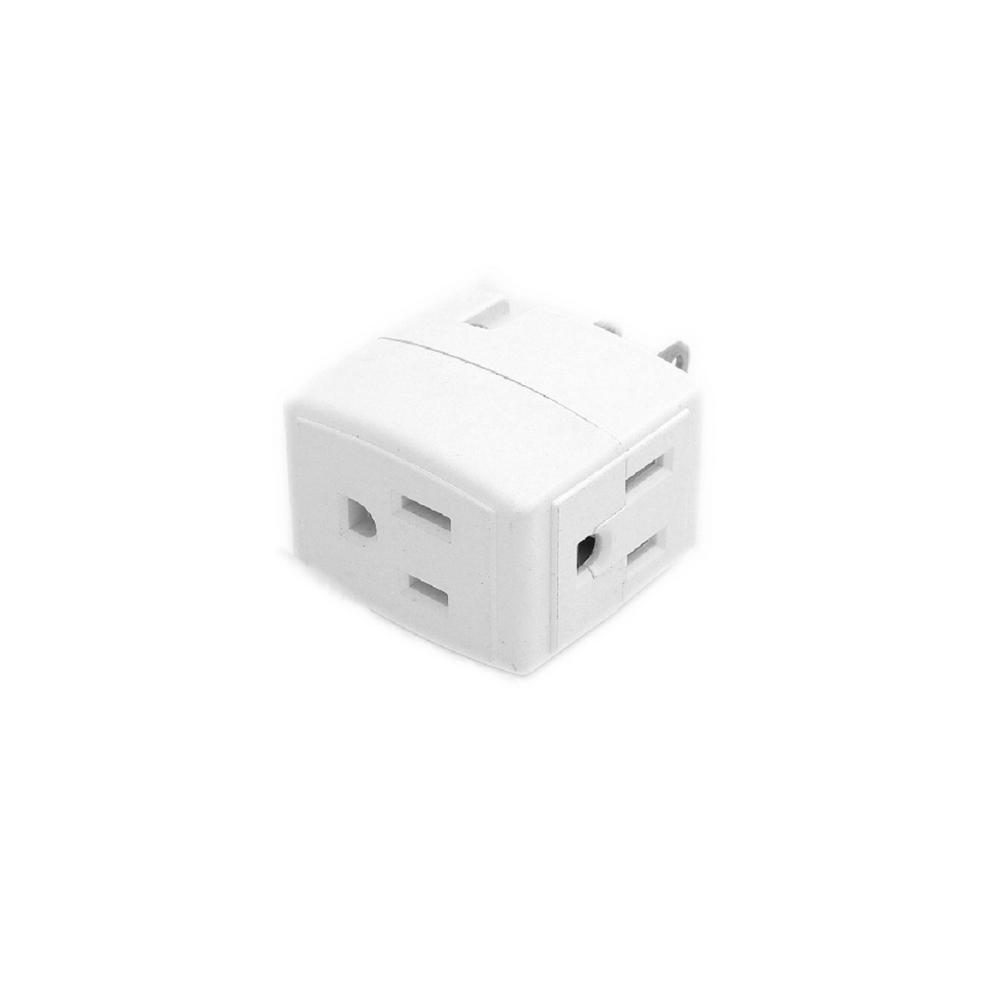 15 Amp Grounded Triple Cube Adapter, White