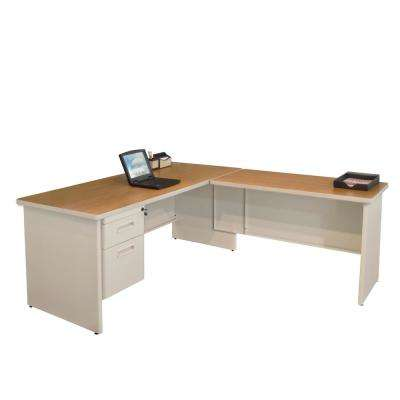 Putty and Oak Desk with Return, Single Hanging Pedestal