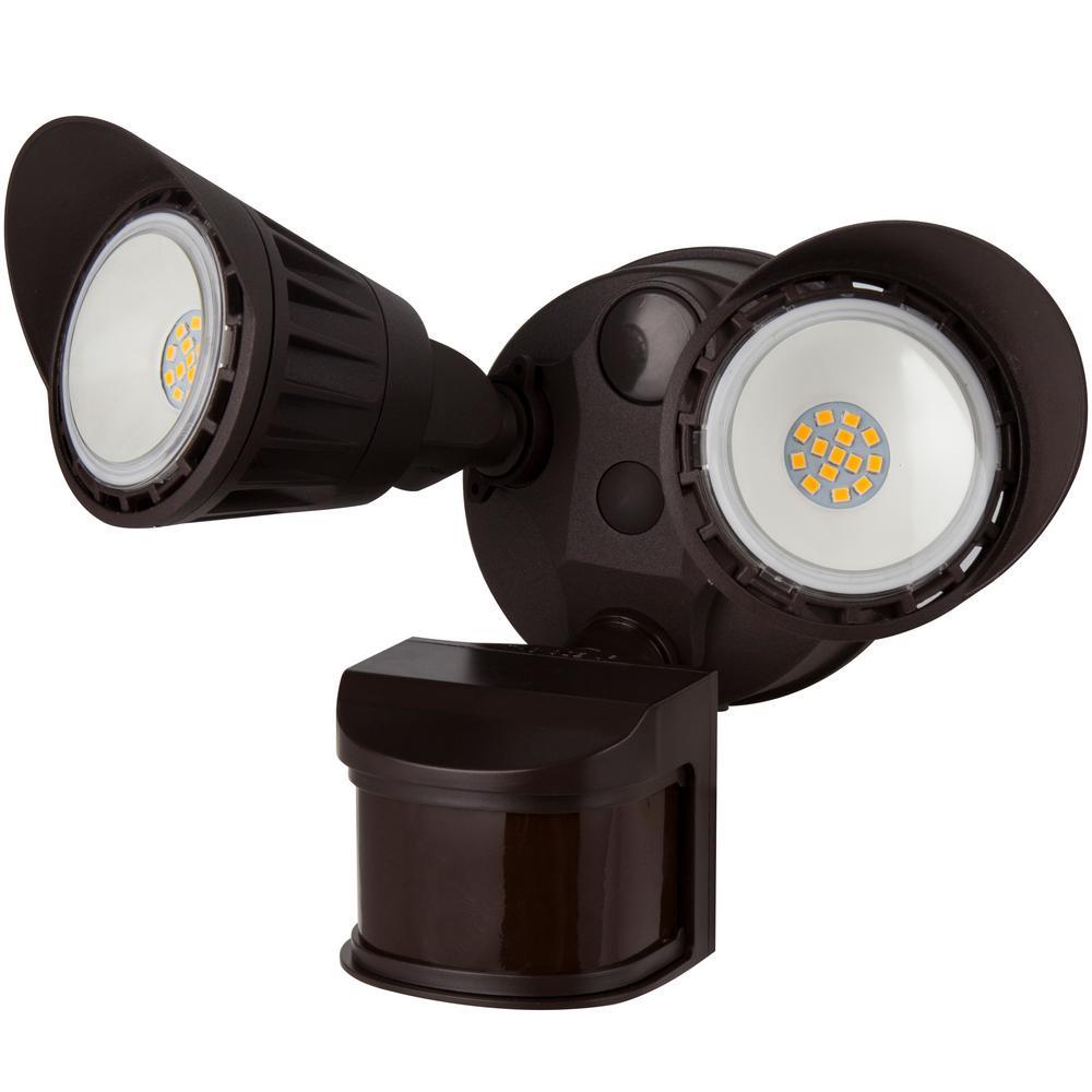 100-Watt Integrated LED Brown Weatherproof Motion Sensor Dusk to Dawn 1800 Lumens Dual Head Area Light, 3000K
