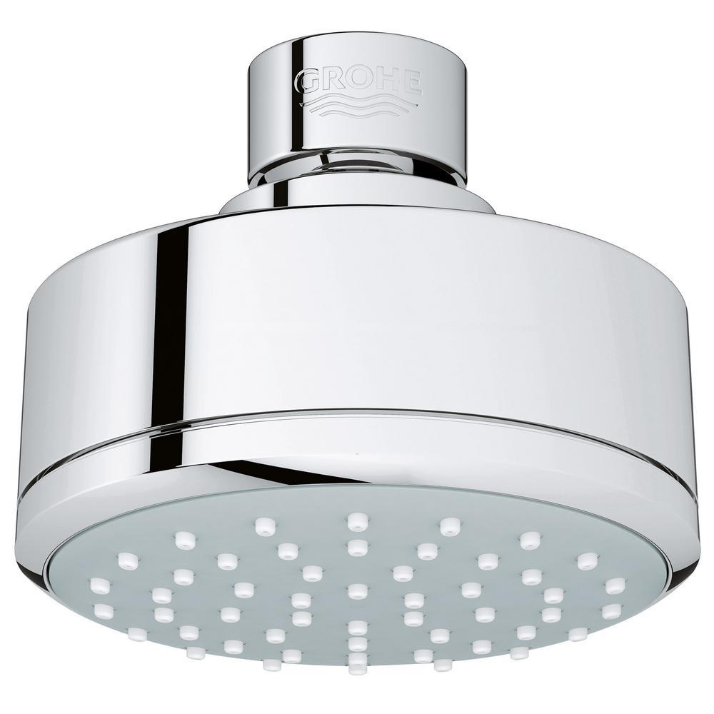 grohe new tempesta cosmopolitan 100 1 spray 4 in raincan showerhead in starlight chrome. Black Bedroom Furniture Sets. Home Design Ideas