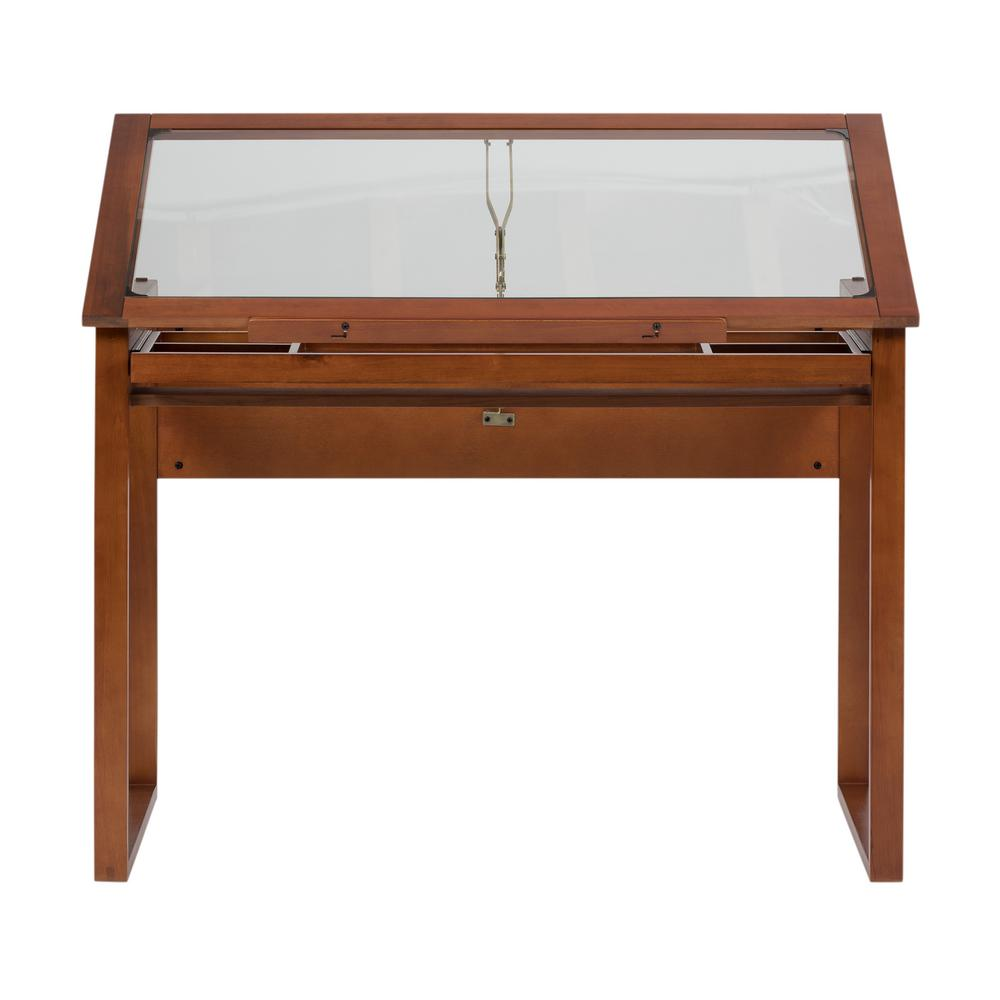Studio Designs Ponderosa 42 In W Angle Adjule Craft Drawing Drafting Wood And Gl Table With 31 Storage Drawer