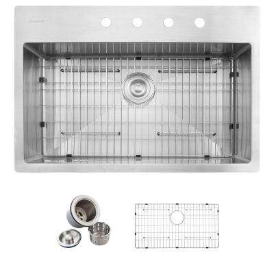 All-in-One Drop-in Stainless Steel 32 in. 4-Hole Single Basin Kitchen Sink in Satin