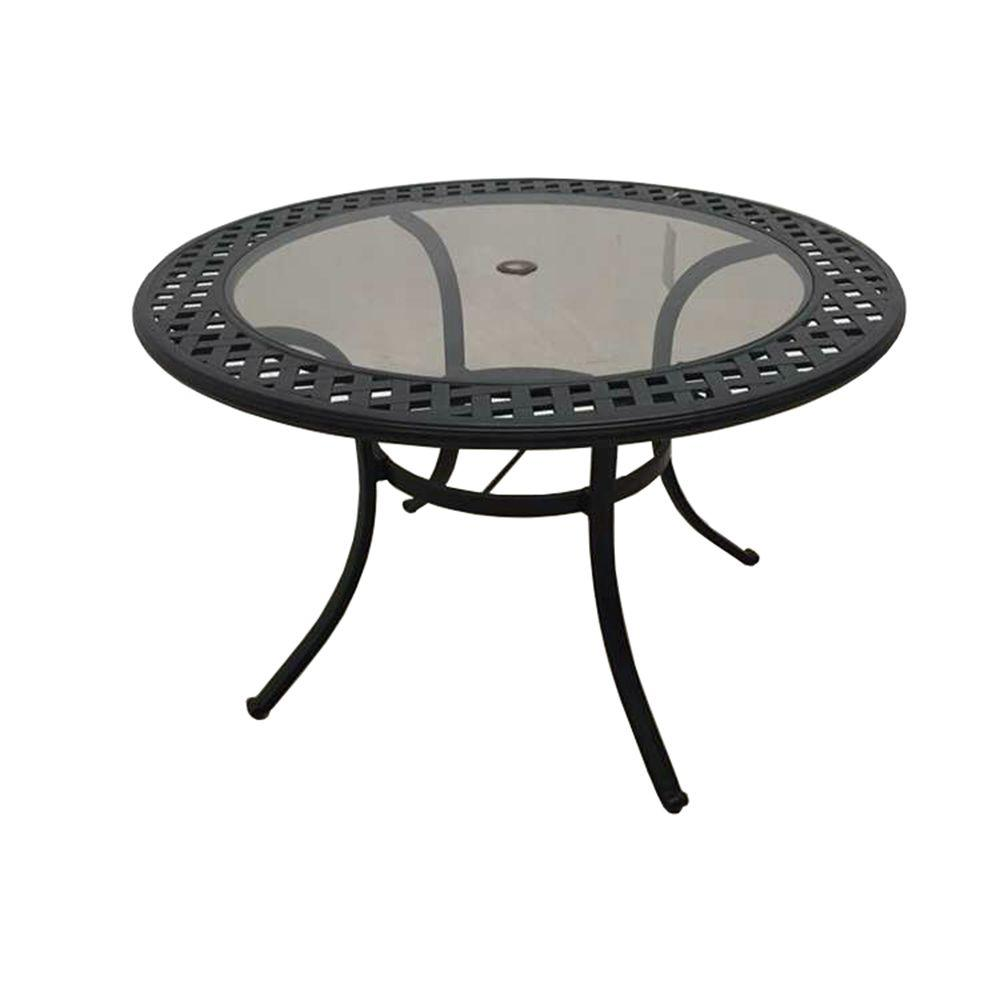 hampton bay belcourt metal round outdoor dining table d11334 tr the home depot. Black Bedroom Furniture Sets. Home Design Ideas