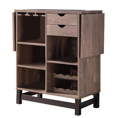 12-Bottle Spacious Brown Wooden Wine Cabinet with Drop Down Leaf and Open Compartments