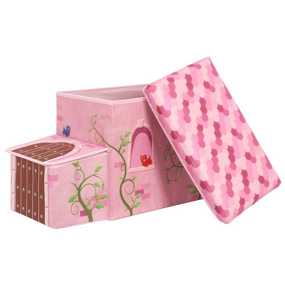 Princess Castle 10.2 in. x 12.2 in. Pink Collapsible Storage Bin