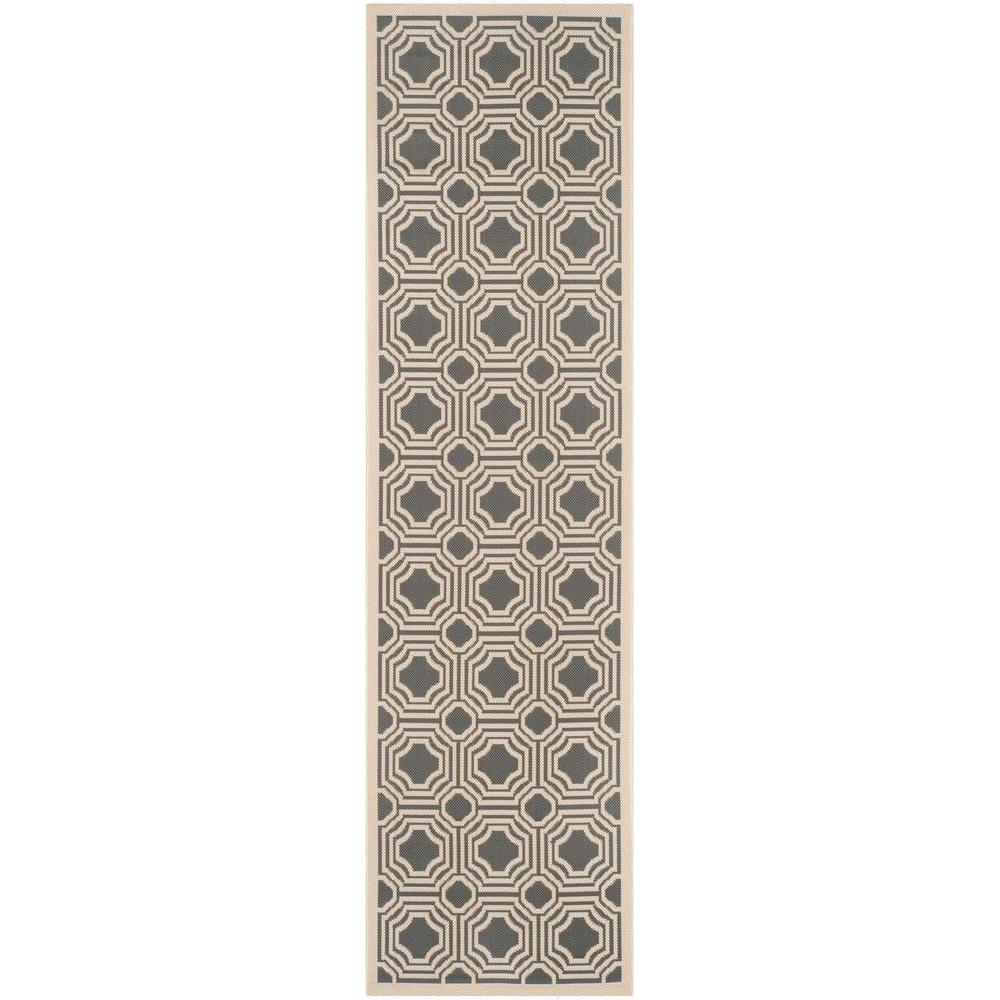 Courtyard Anthracite/Beige 2 ft. 3 in. x 8 ft. Indoor/Outdoor Runner
