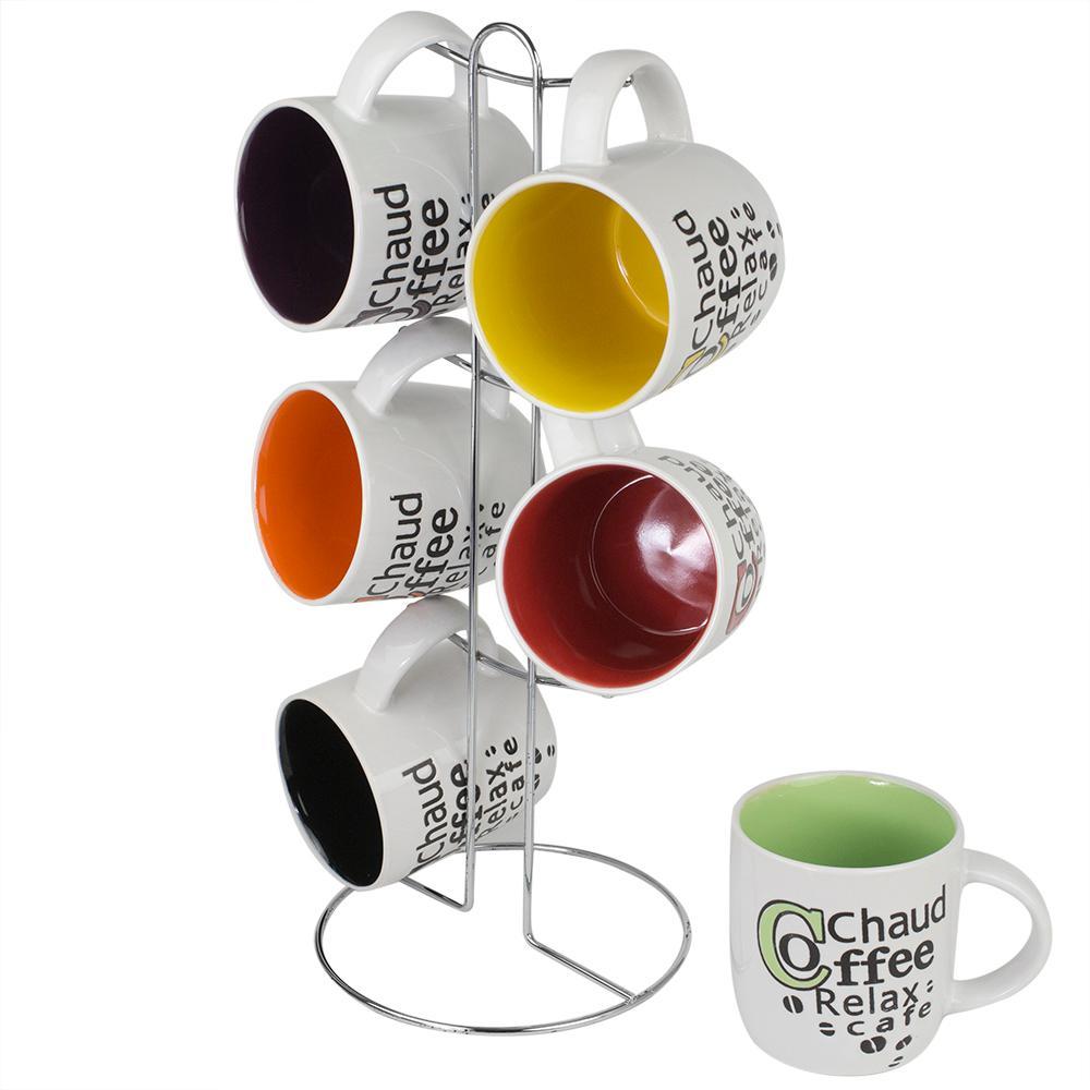Home Basics 6-Piece Coffee Mug with Stand MS30084