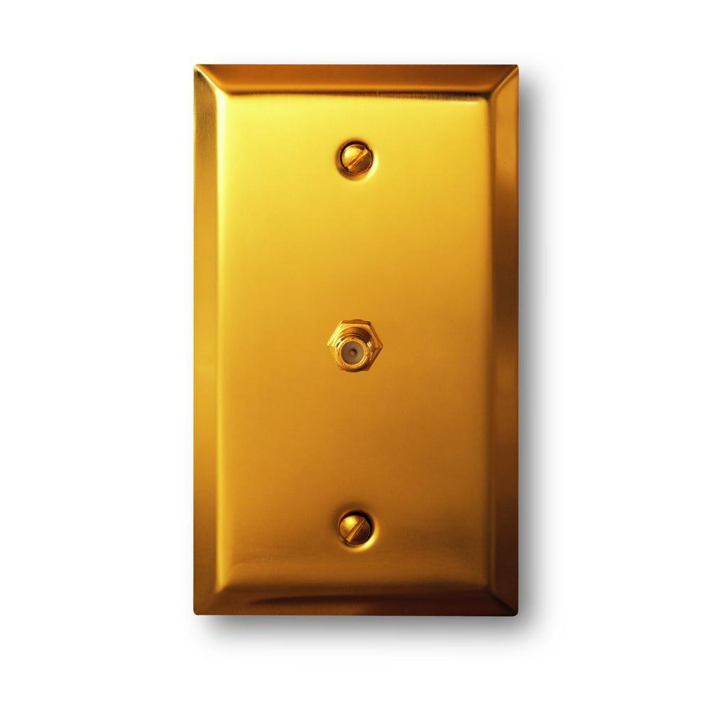 Amerelle Steel 1 Cable Wall Plate - Bright Brass