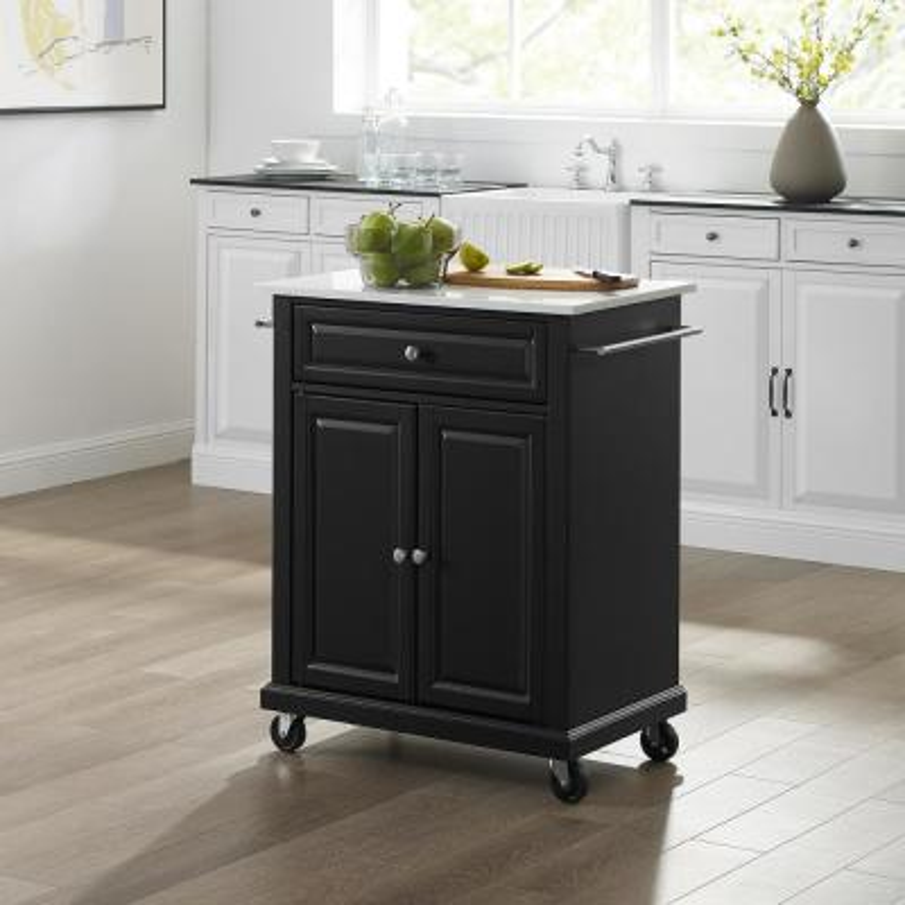 Black Portable Kitchen Island with Granite Top