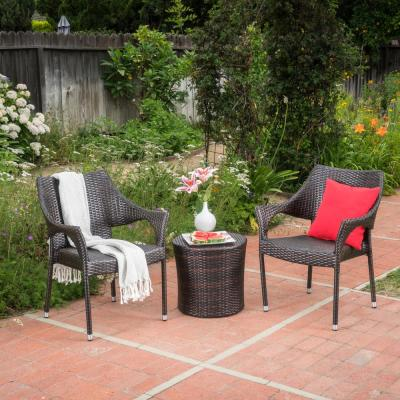 Brycen Multi-Brown 3-Piece Wicker Patio Conversation Set with Stacking Chairs