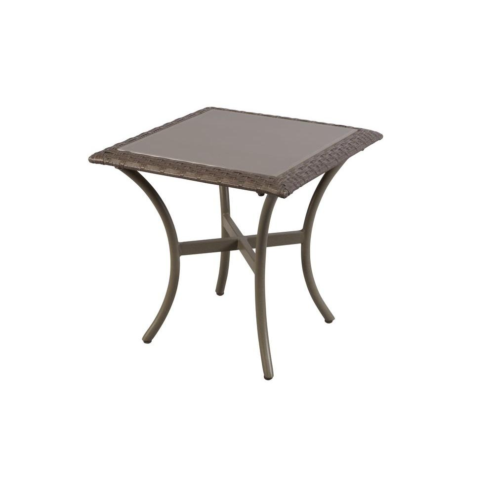 hampton bay posada 18 in glass top outdoor patio side table 153 120 18st the home depot. Black Bedroom Furniture Sets. Home Design Ideas