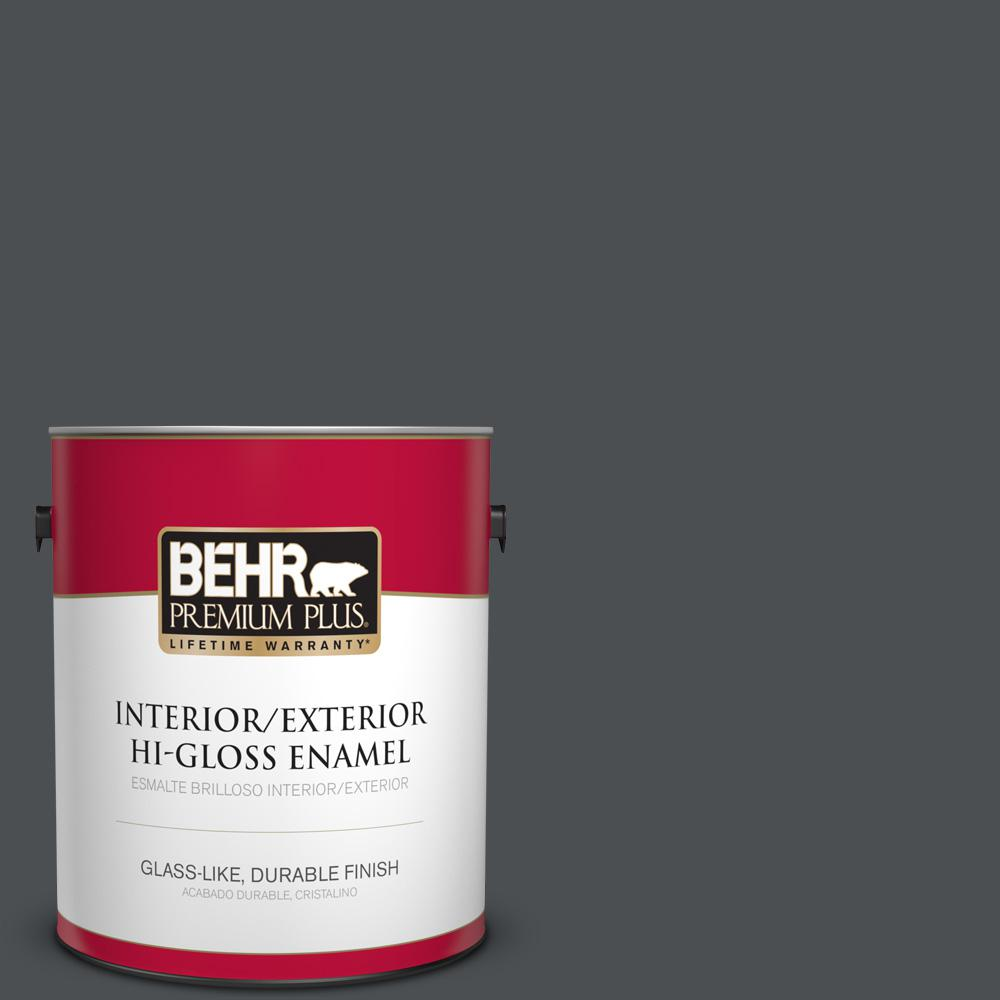 1 gal. #PPU26-01 Satin Black Hi-Gloss Enamel Interior/Exterior Paint