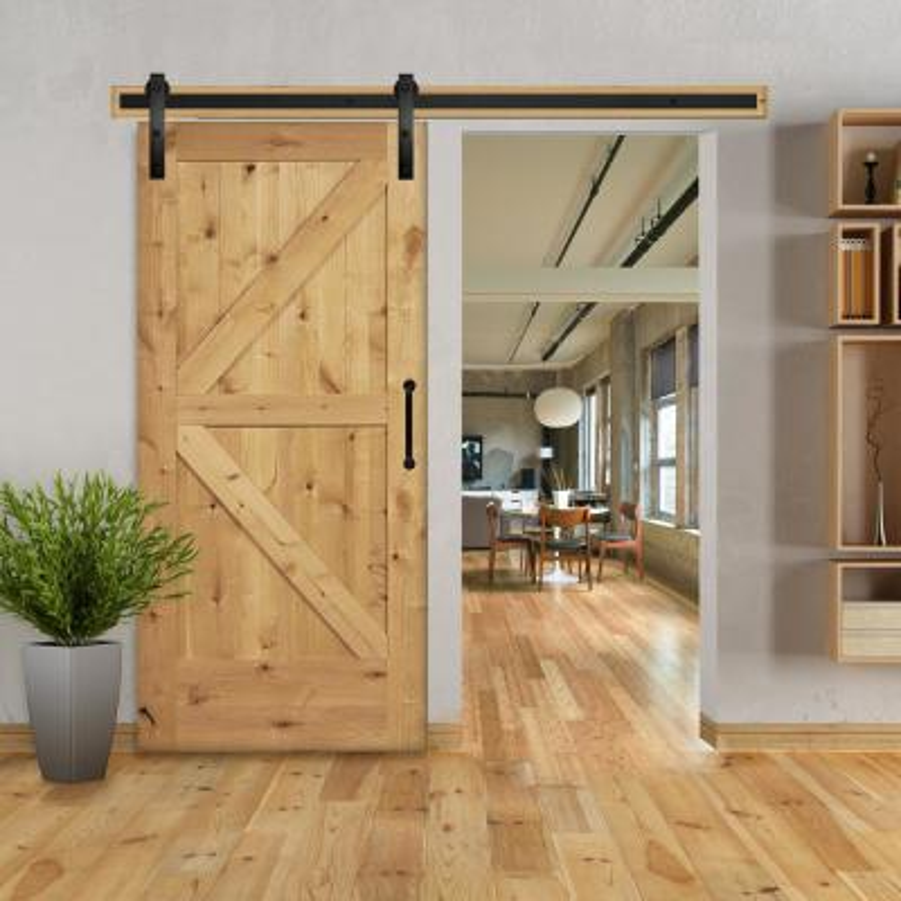2-Panel Barn Solid Core Unfinished Knotty Alder Interior Door Slab