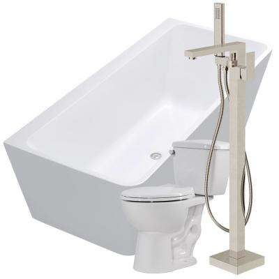 Strait 67 in. Acrylic Flatbottom Non-Whirlpool Bathtub in White with Dawn Faucet and Cavalier 1.28 GPF Toilet