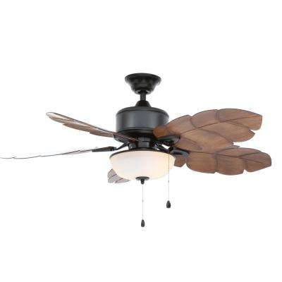 Palm Cove 52 In. LED Indoor/Outdoor Natural Iron Ceiling Fan With Light Kit  ...