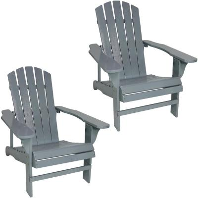 Classic Gray Outdoor Wooden Adirondack Patio Chair (Set of 2)