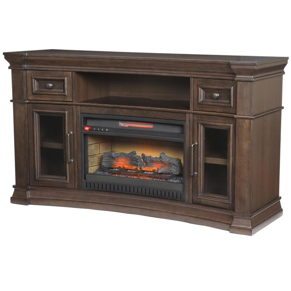 Home Decorators Collection Oak Park 60 in. Freestanding Electric Fireplace TV Stand in Coffee
