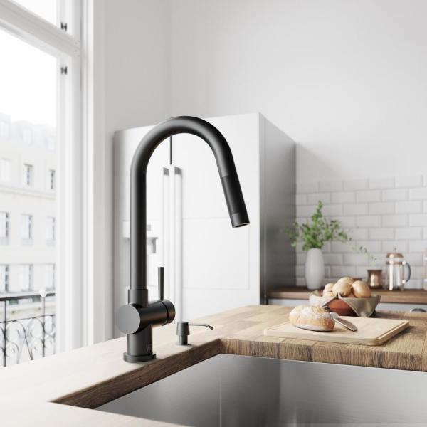 VIGO-Gramercy Single-Handle Pull-Down Sprayer Kitchen Faucet in Matte Black