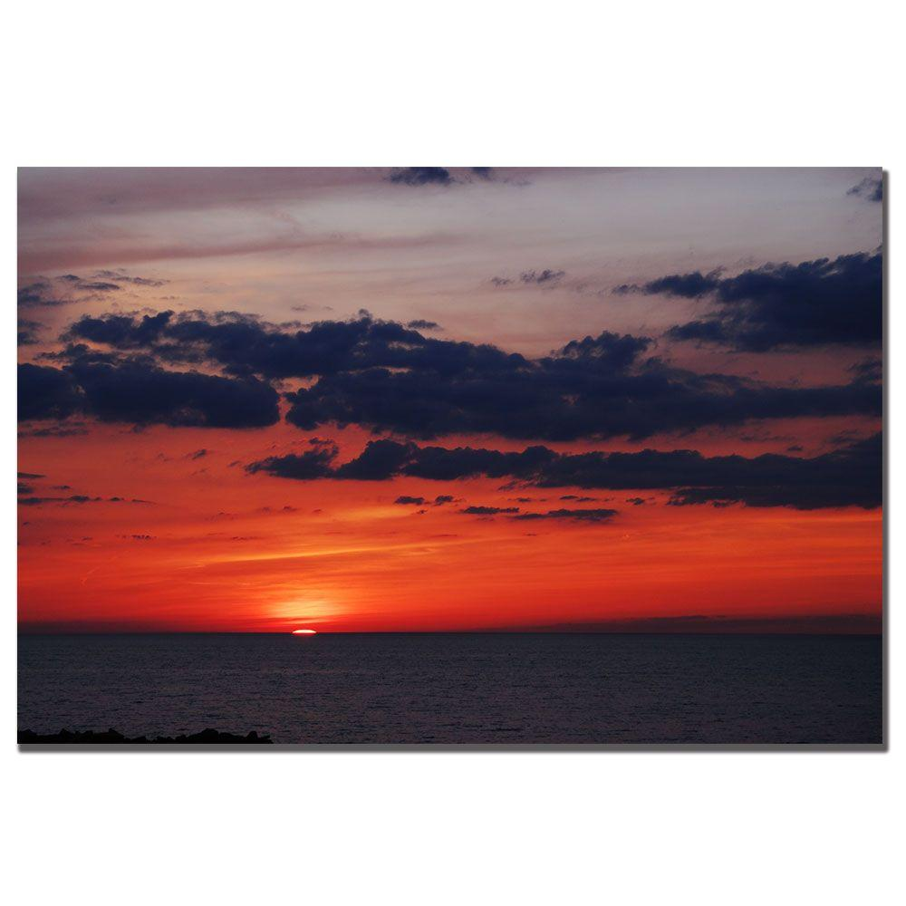 24 in. x 16 in. Great Lake Sunset Canvas Art