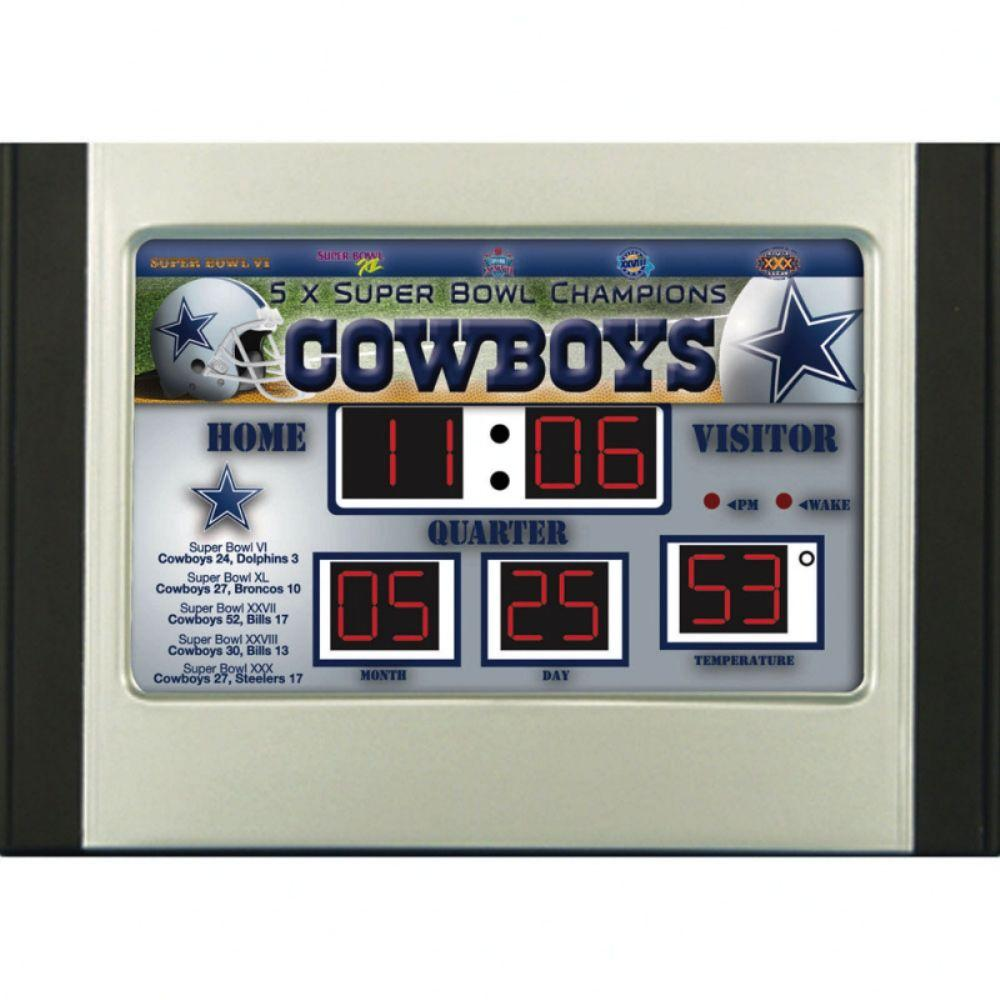null Dallas Cowboys 6.5 in. x 9 in. Scoreboard Alarm Clock with Temperature