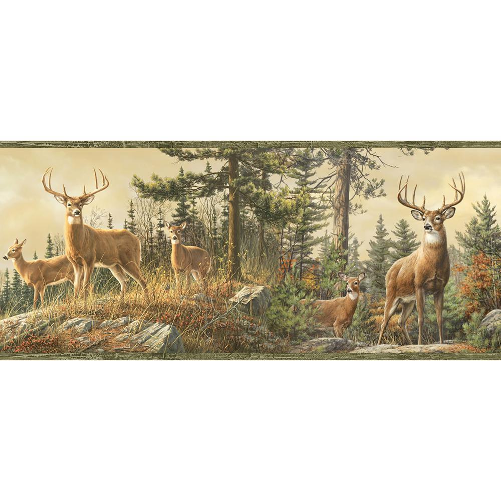 Ashmere Green Whitetail Crest Wallpaper Border Sample
