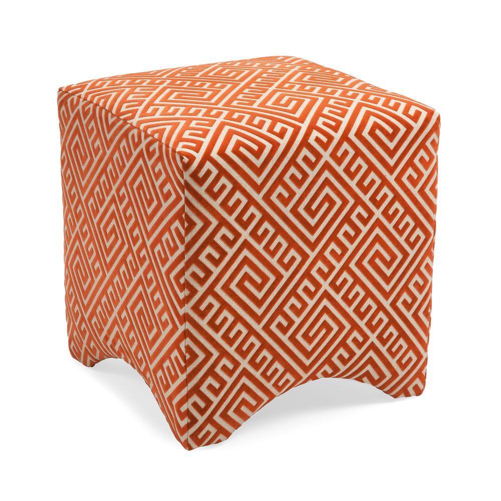 Orange Accent Ottoman