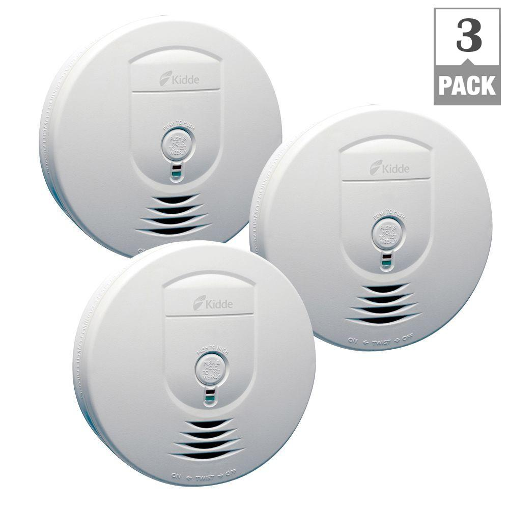 kidde battery operated wireless inter connectable smoke alarm 3 pack rf sm dc the home depot. Black Bedroom Furniture Sets. Home Design Ideas