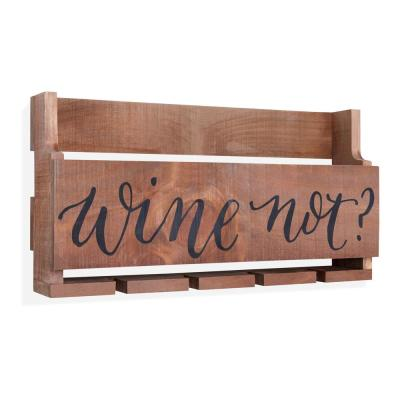 Five Bottle Wall Mount Wooden Wine and Stemware Rack Holder
