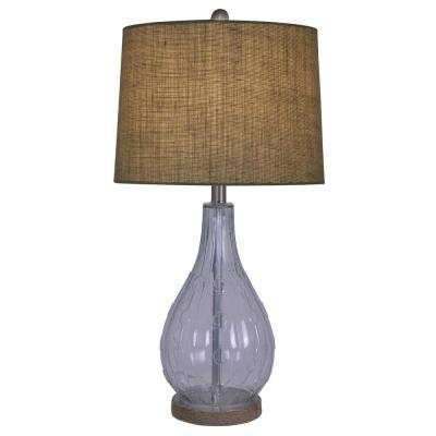 Emma Embossed 27.5 in. Clear Table Lamp with Burlap Shade