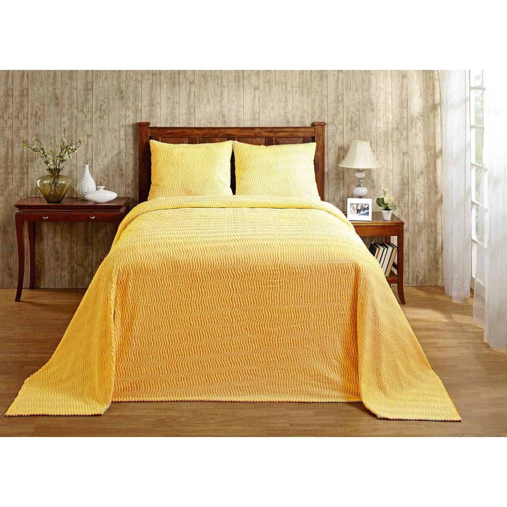 Natick Chenille 1-Piece Yellow Full Bedspread