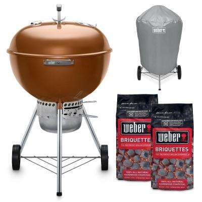 22 in. Original Kettle Premium Charcoal Grill in Copper Combo with Grill Cover and 2-Bags of Weber Charcoal Briquettes