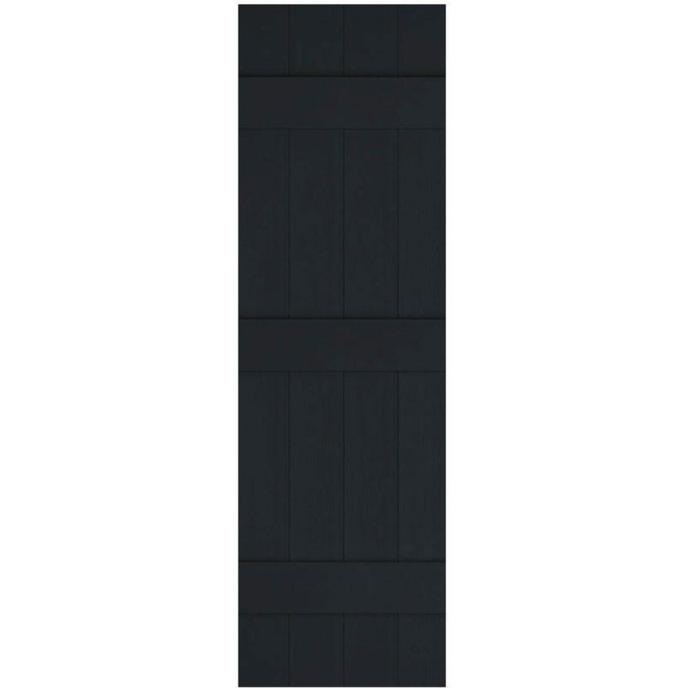 Ekena Millwork 14 in. x 63 in. Lifetime Vinyl Standard Four Board Joined Board and Batten Shutters Pair Black