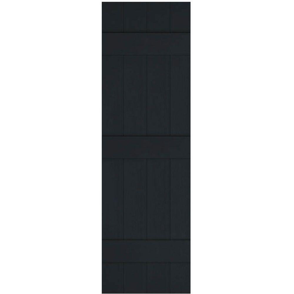 Ekena Millwork 14 in. x 67 in. Lifetime Vinyl Standard Four Board Joined Board and Batten Shutters Pair Black